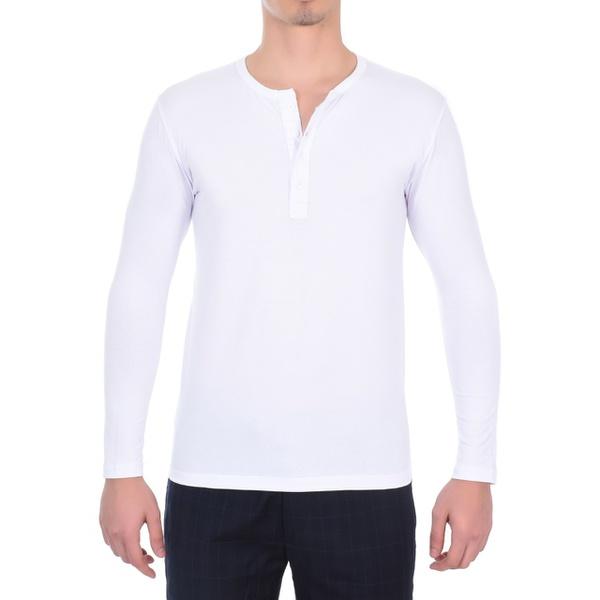 Camiseta Manga Longa Masculina Branca algodão egípcio