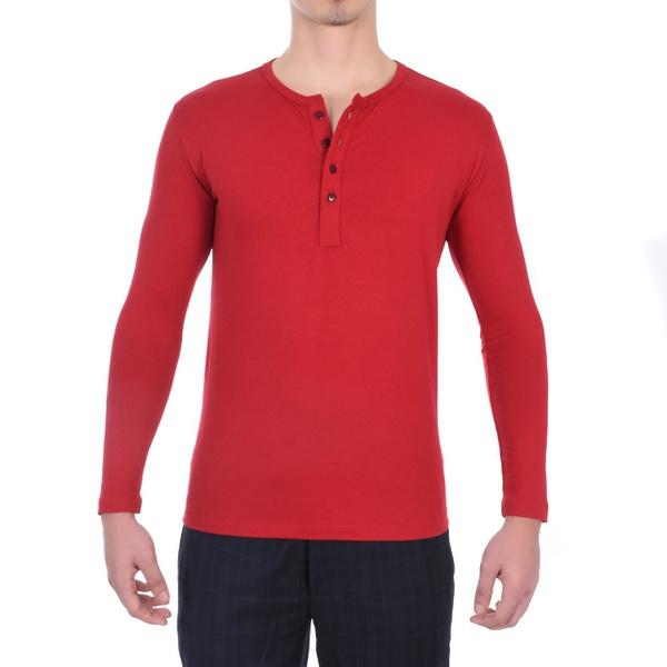 Camiseta Henley Vermelha Masculina Algodão Egípcio