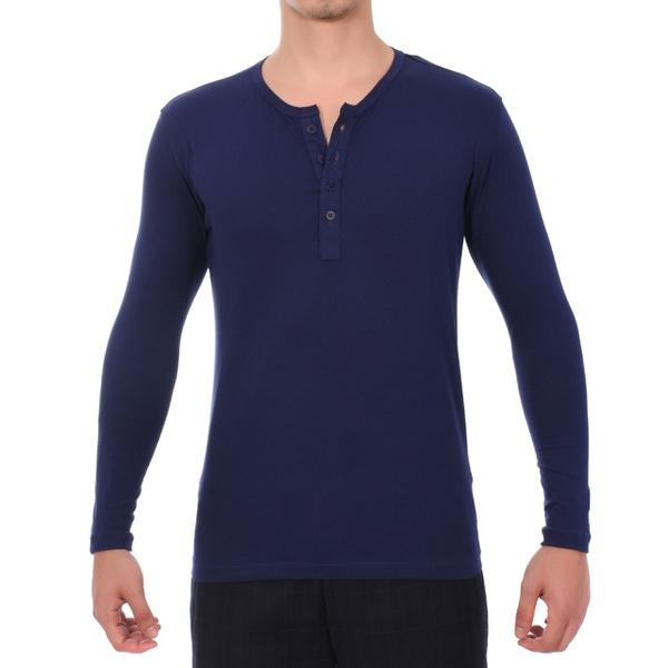 Camiseta Manga Longa Azul Masculina