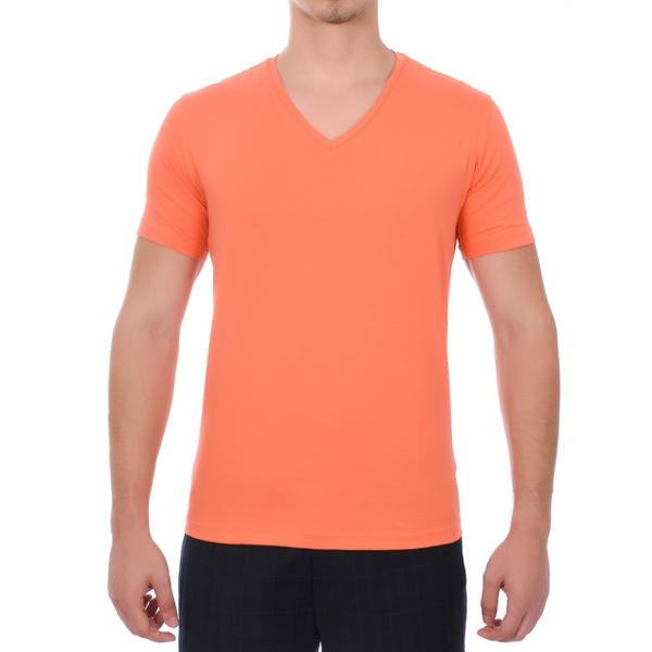 Camiseta Gola V Manga Curta Laranja Claro - Algodão Egípcio