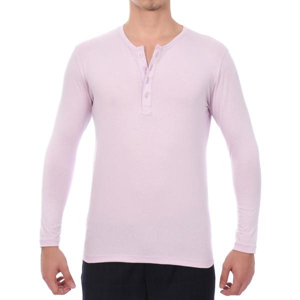 Camisa Henley Manga Longa Lilás - Algodão Egípcio