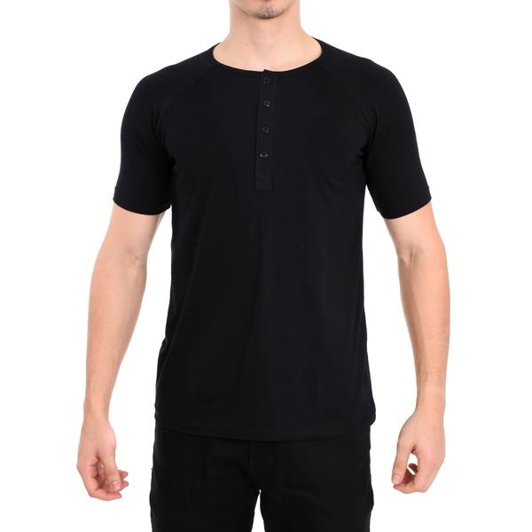 Camisa Raglan Manga Curta Preta - Algodão Egípcio