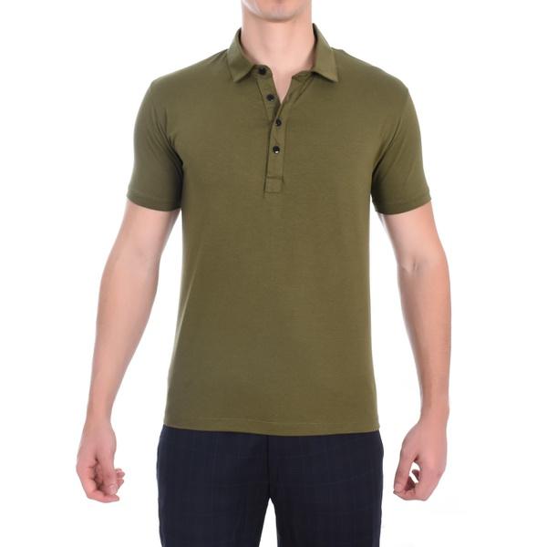 Camisa Gola Polo Verde em Algodão Egípcio