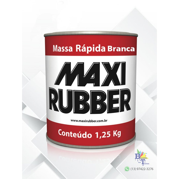 MASSA RÁPIDA BRANCA MAXI RUBBER 1,25KG