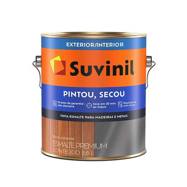SUVINIL ESMALTE PINTOU SECOU CINZA MÉDIO 3,6L