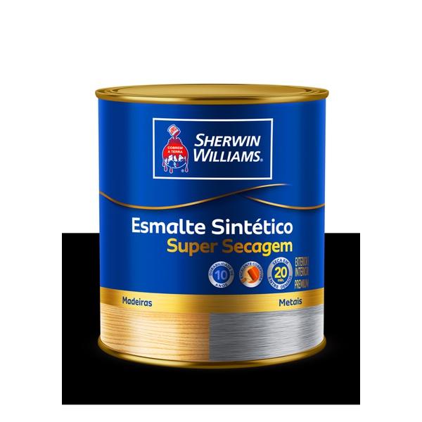 SHERWIN WILLIAMS ESMALTE SINTÉTICO SUPER SECAGEM PRETO 900ML