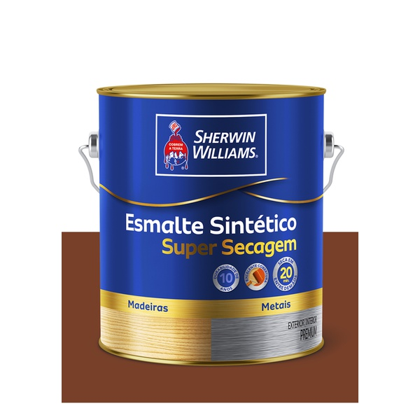 SHERWIN WILLIAMS ESMALTE SINTÉTICO SUPER SECAGEM TABACO 3,6L