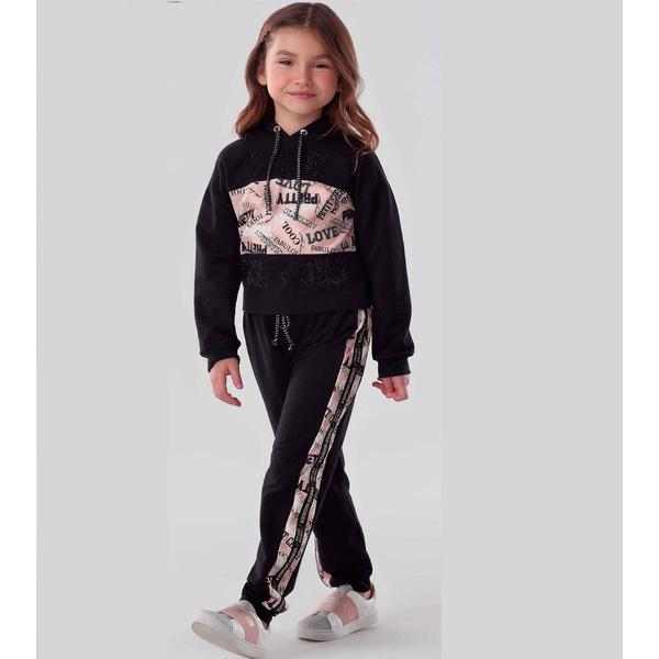 Conjunto Menina Petit Cherie Blusa Calça Capuz Conforto