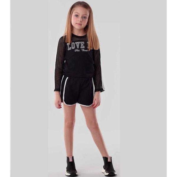 Conjunto Menina Petit Cherie Blusa Short Tule Bolso Conforto