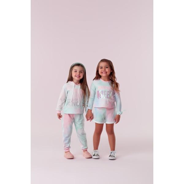 Conjunto Menina Petit Cherie Blusa Calça Capuz Tule Casual