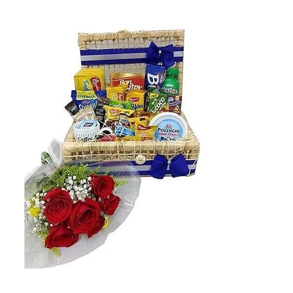 Baú Carinho da Manhã Especial + Buquê de 6 Rosas
