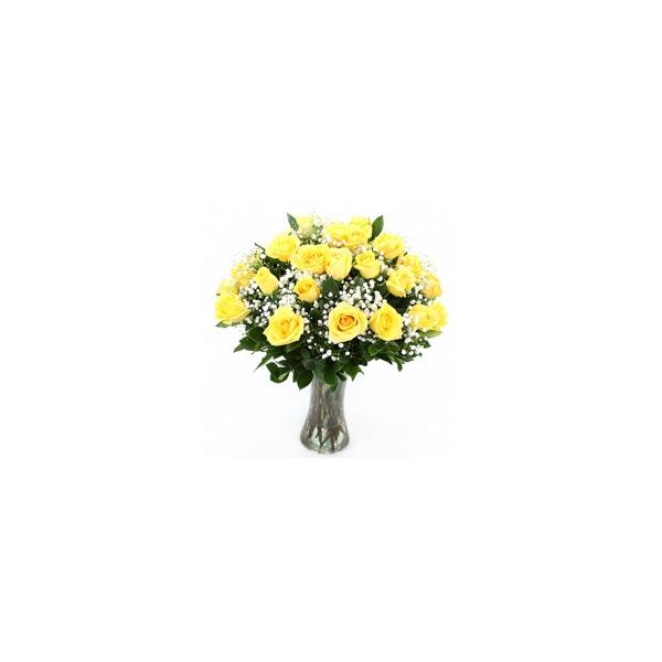 Encanto De Rosas Amarelas No Vaso De Vidro
