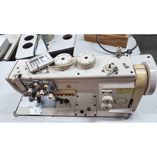 Máquina de Costura Reta Transporte Triplo Eletrônica 2 Agulhas Sunstar Usada