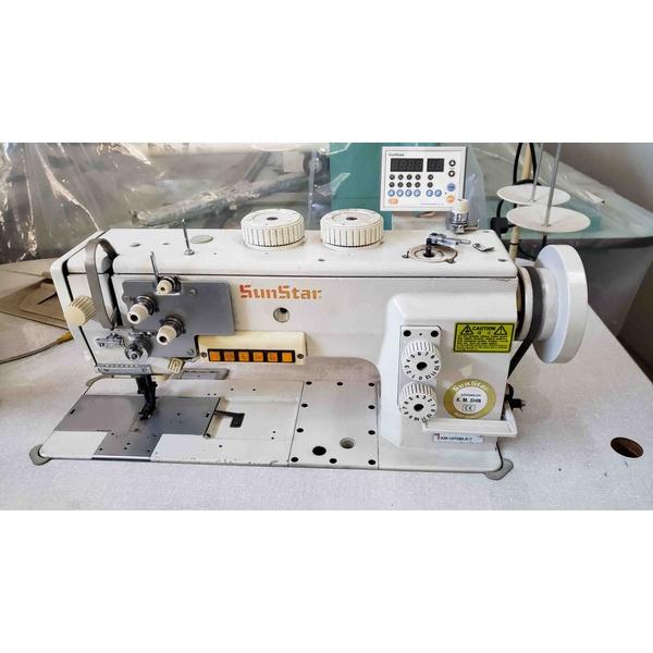 Máquina de Costura Reta Transporte Triplo Eletrônica Sunstar Usada
