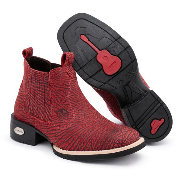 Bota Texana Bico Quadrado Vermelho Estampado