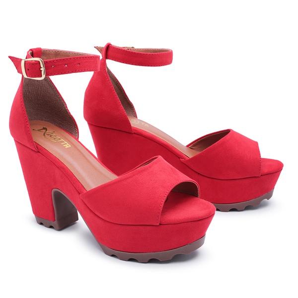 Salto Alto Feminino Em Camurça Vermelho