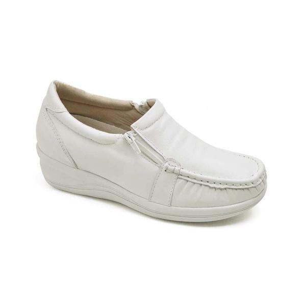 Sapato Feminino Mocassim Comfort Anatomico Branco