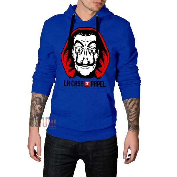 Blusa de Moletom La Casa de Papel Azul Bic