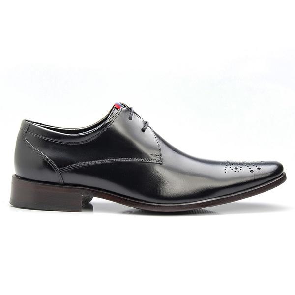 Sapato Brogue Masculino Preto de Amarrar