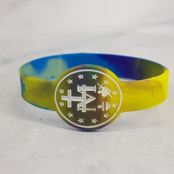 Pulseira de Silicone Medalha Milagrosa Tie-dye