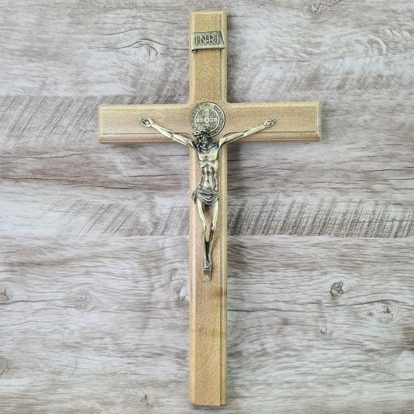 Crucifixo Mesa e Parede -Madeira com medalha de São Bento 35 cm