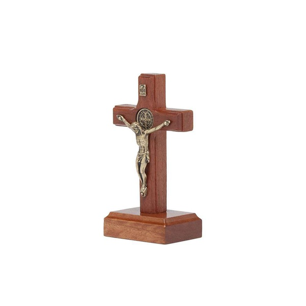 Crucifixo de Mesa 7 Cm Com São Bento