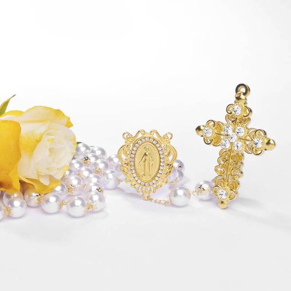 Terço Noiva Pérola e Strass- Dourado