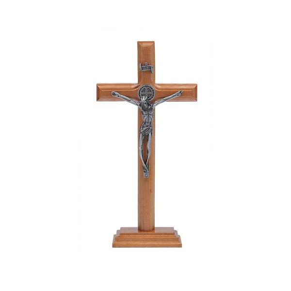 Crucifixo Mesa e Parede -Madeira com Medalha de São Bento 19 cm