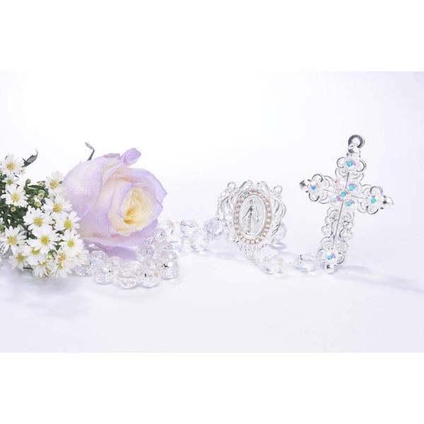 Terço Noiva Cristal Irisado - Prata com strass