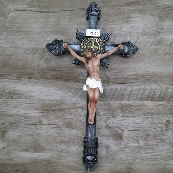 Crucifixo Resina -Medalha São Bento - 40 cm