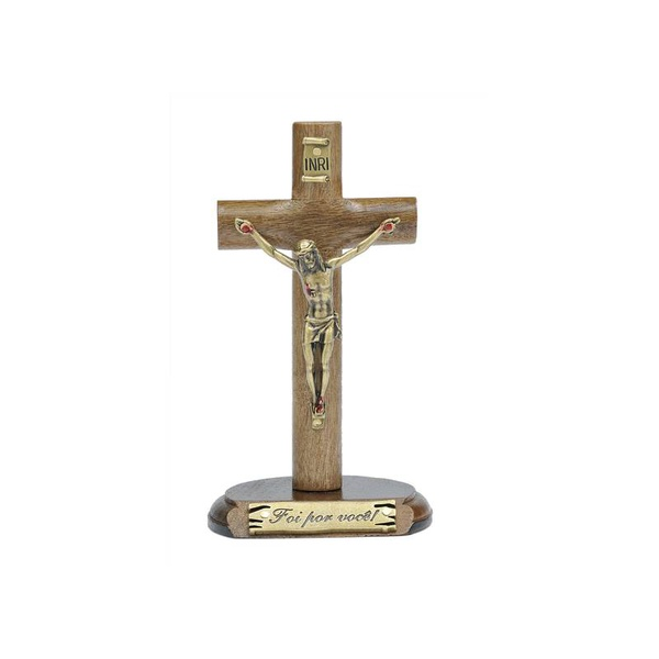 Crucifixo madeira cilíndrica de mesa 12cm- Foi por você