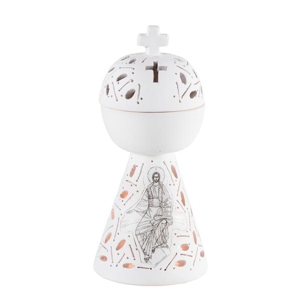 Incensário Rendado Cristo Pantocrator 17 cm