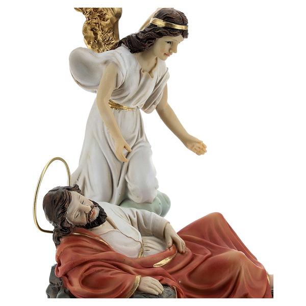Conjunto São José dormindo e anjo resina 20 cm