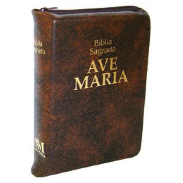 Bíblia Ave Maria - Zíper Média Marrom