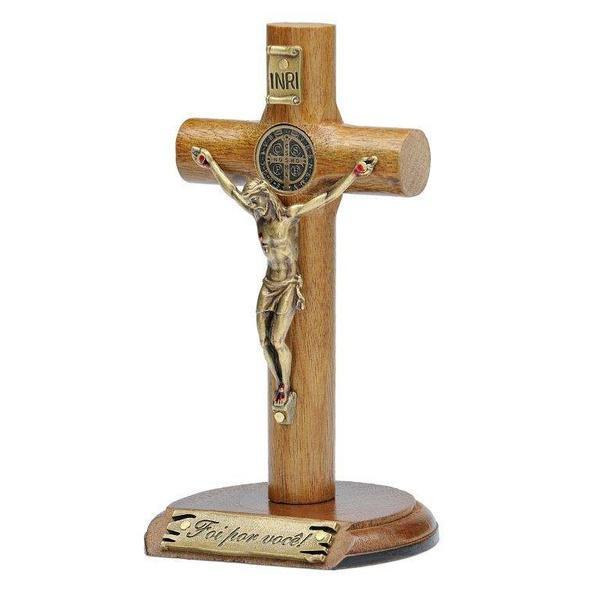 Crucifixo Madeira Cilíndrica de mesa 12cm São Bento- Foi por você