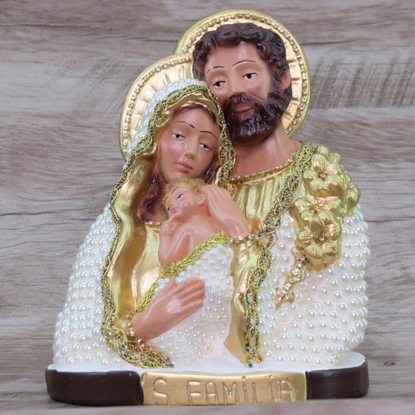 Imagem Gesso - Sagrada Família 20 cm Pérola