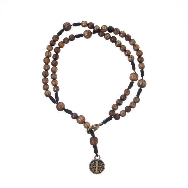 Pulseira Terço - com Medalha de São Bento Embuia