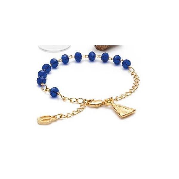 Pulseira Dezena - Cristal vidro azul - Nossa Senhora Aparecida