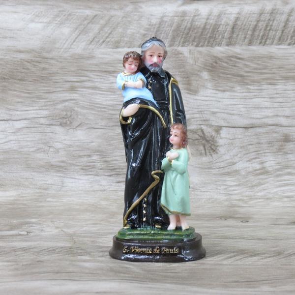 Imagem em resina : São Vicente de Paulo 15 cm