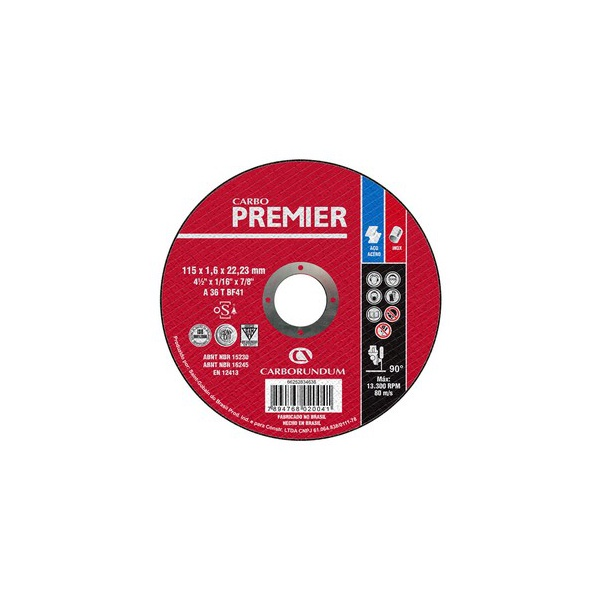 Disco de Corte Carbo Force Premier 115 x 1,6 x 22,23 MM