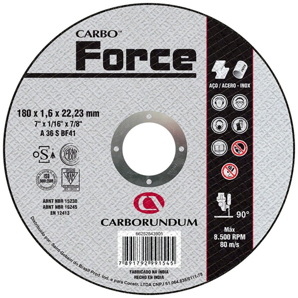 Disco de Corte Carbo Force 180 x 1,6 x 22,23 MM