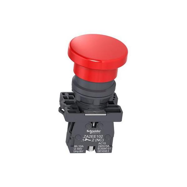 Botão 22mm Plástico Pulsador Emergência 40 Vermelho NF XA2EC42 Schneider