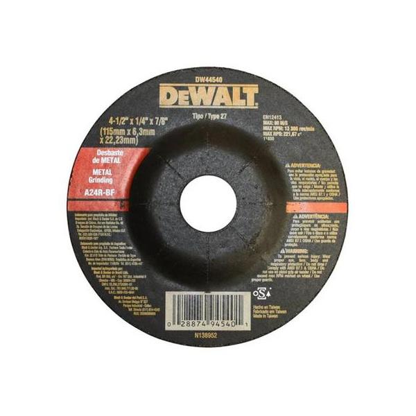 Disco De Desbaste 4 1/2 x 1/4 x 7/8 Pol. - DEWALT-DW44540