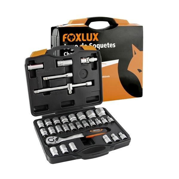 Jogo de Soquetes + Maleta 32 Peças Foxlux 57.02