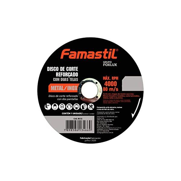 """Disco de Corte Famastil 4 1/2"""" x 1,0 x 22,2 MM Metal/Inox"""