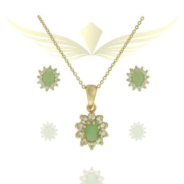 Conjunto Colar e Brinco Zircônia Lesprit 00000 Dourado Verde