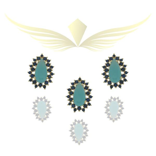 Conjunto Zirconia Lesprit P0017331 Dourado Azul e Turmalina Leitosa