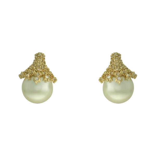 Brinco Pérola Zircônia Lesprit 4013 Dourado Cristal