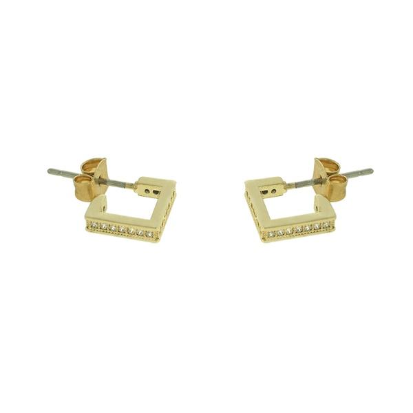 Brinco Argola Zircônia Lesprit Dourado Cristal Quadrado