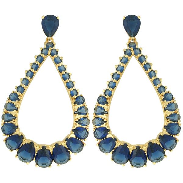 Brinco Zircônia Lesprit 10001 Dourado Azul Safira